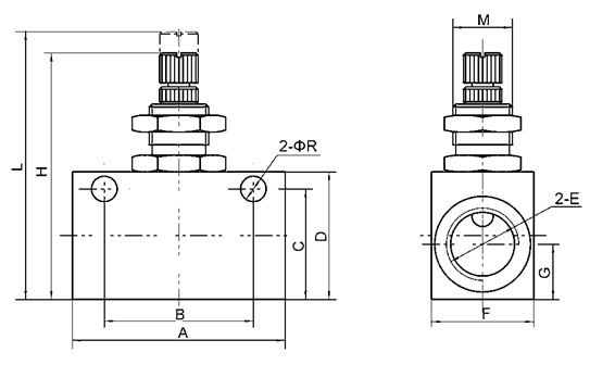 "FCV Series One Way G1/2"" Pneumatic Flow Control Valve Non-return Type"